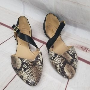 Nicole Shoes - Nicole Snakeskin Crossover Flats